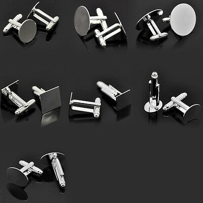 10PCs Hot Cabochon Setting Cuff Links Silver Plated M0973