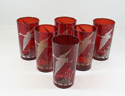 Vintage Hazel Atlas Sportsman Ruby Red Flying Goose Bird Tumblers Set of 6