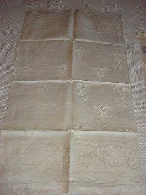 """Antique Damask RUNNER OR TOWEL Cream, Trumpet Lily 35""""x20"""""""