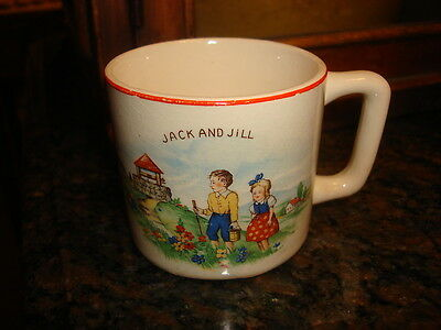 Vintage CHILD'S NURSERY RHYME CUP Jack & Jill, Mary Little Lamb