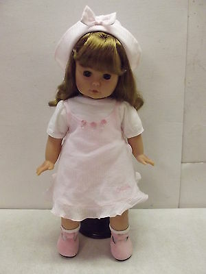 ZAPF CREATION 1996 ? COLETTE DOLL ALL ORIGINAL W/PINK DRESS HAT & SHOES GERMANY