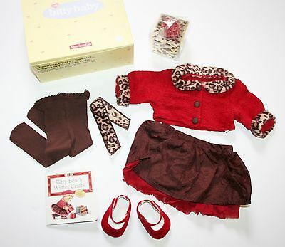 NEW NIB Bitty Baby CHOCOLATE CHERRY Holiday Sweater Skirt Set for Dolls Leopard