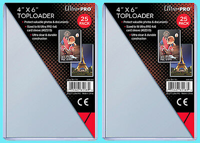 50 Ultra Pro 4x6 TOPLOADERS NEW Photo Sports Card Collectible Postcard Rigid