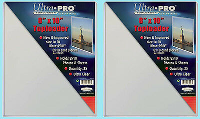 "50 Ultra Pro 8""x10"" TOPLOADERS NEW for Sleeves Memorabilia Photos Collectibles"