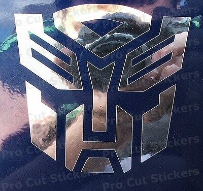 Transformers Autobots Stickers Small to Large Sizes Silver Mirror Chrome Decals