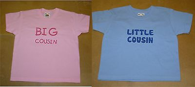 Boys/Girls Personalised Big/Little Cousin T-Shirt in Pink or Blue- Include Name