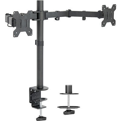 USED Dual LCD Monitor Desk Mount Stand Heavy Duty Fully Adjustable