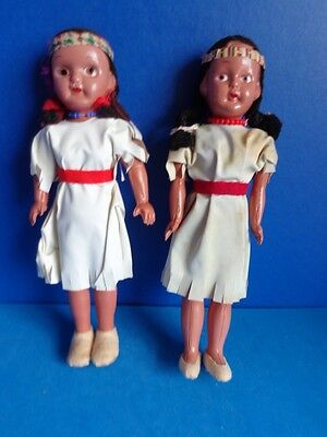 PAIR OF VINTAGE CELLULOID NATIVE AMERICAN INDIAN DOLLS- 1940s JAPAN
