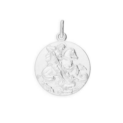 925 Sterling Silver Large Round St George Medal