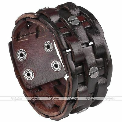 Cool Punk Wide Mens Genuine Leather Bracelet Cuff Braided Wristband Bangle New