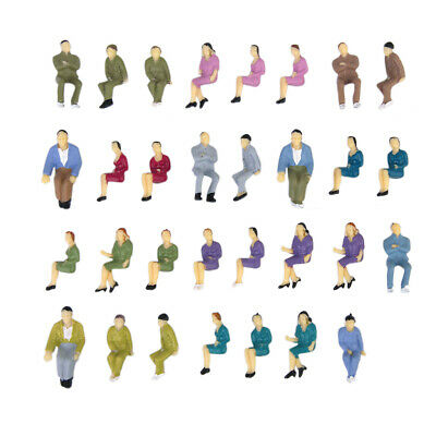 50Pcs Painted Model Train Railway Seated People Passengers Figures 1:50 O Scale