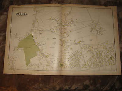 Antique 1889 Woburn East Center Middlesex County Massachusetts Handcolored Map N