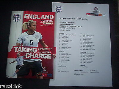 2014 - England V Ukraine Womens World Cup Qual @ Shrewsbury + Colour Team Sheet