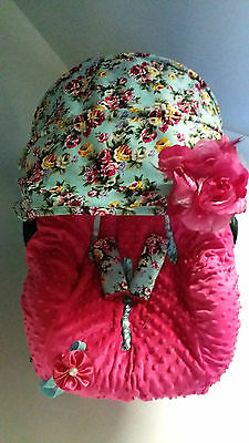baby car seat cover canopy  fit most infant car seat headband polka dots fabric
