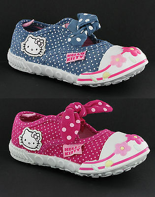 Hello Kitty Casual Elasticated Girls Infants Canvas Pumps Trainers Shoes UK4-10