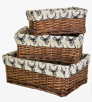 e2e Antique Brown Wicker Shallow Storage Basket w/ Line Drawn Stag Liner 3 Sizes