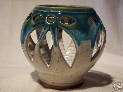 Open Work Pottery Candle Holder-Signed by Potter