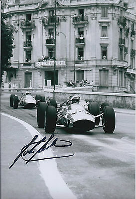 John SURTEES SIGNED Monte CARLO FERRARI F1 12x8 Photo AFTAL Autograph COA