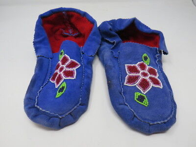 Native American  Moose Hide Moccasin  9 1/2 Inches Long Blue Sensational Flower