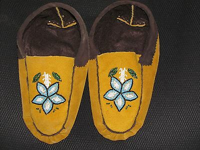 Native American  Moose Hide Moccasin  9  Inches Long  Unique Flower Vamp Cozy