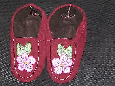 Native American  Moose Hide Moccasin  9 1/2  Inches Long Enlightening Flower