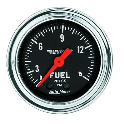 "Autometer Fuel Pressure Gauge Mechanical 2.1/16"" 0-15 Psi With Isolator - Au2413"