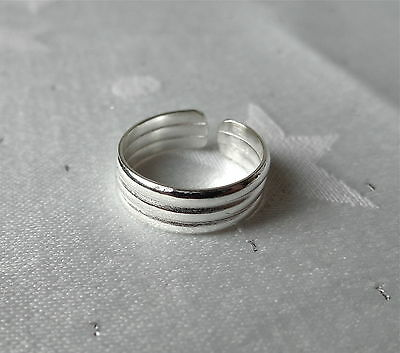 Triple Band Toe Ring 925 Sterling Silver