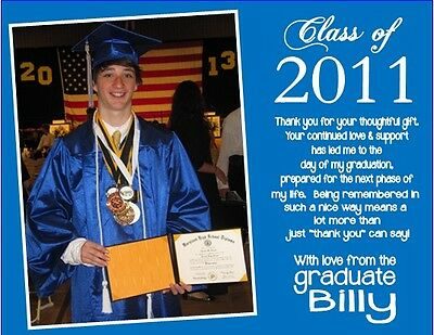 Graduation Graduate PHOTO ANY COLOR Party Thank You Note Cards Personalized