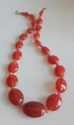 Old Antique Chinese Sterling Silver Clasp Carnelian Beaded Necklace