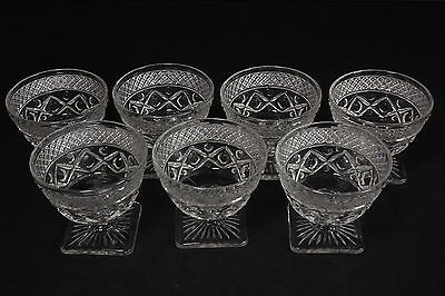 Square Base Low Sherbets Set Of 7 Vtg Heavy Clear Glass Imperial Cape Cod