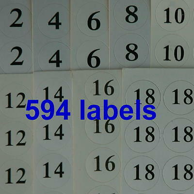 594 Clothing Apparel Size Number Stickers Retail Round Self-Adhesive Labels Lots