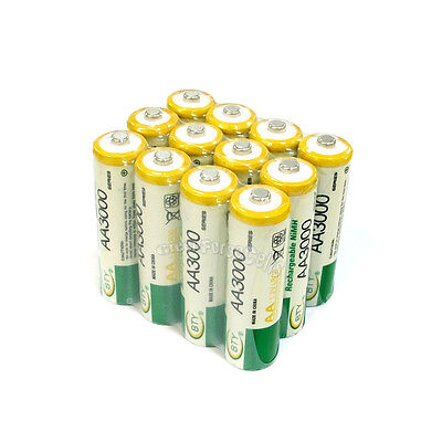 12 pcs AA LR06 3000mAh 1.2V NI-MH rechargeable battery CELL/RC 2A BTY Green SP