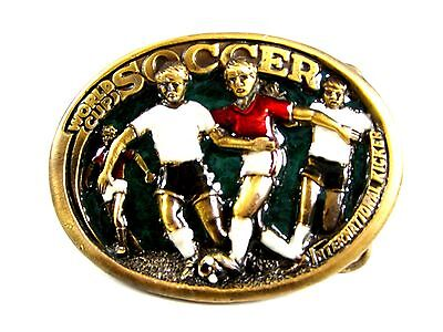 1982 World Cup Soccer Belt Buckle 5714 by Great American Buckle Co
