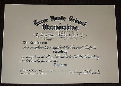 Terre Haute Indiana Blank School of Watchmaking Diploma Horology