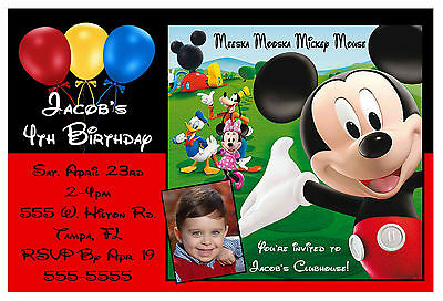 MICKEY MOUSE CLUBHOUSE BIRTHDAY PARTY INVITATIONS design w/photo