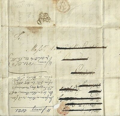 1784  Payd Peny Post Temple Dockwra Type  L357 Re-Used 1821 As Legal Memo London