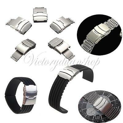 16-24mm Stainless Steel Watch Band Strap Double Fold Over Clasp Buckle Repair