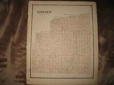 Antique 1871 Lincoln Township Morrow County Ohio Handcolored Map Superb Rare Nr