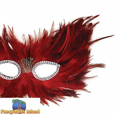 RED & BLACK MASQUERADE FEATHER EYE MASK - womens ladies fancy dress accessory