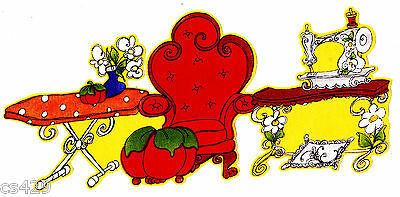 """8"""" LORALIE SEW FABULOUS SEWING MACHINE COUCH FABRIC APPLIQUE IRON ON"""
