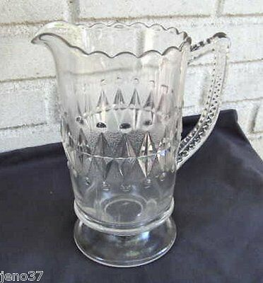 Antique Pattern Pressed Glass Large Water Pitcher Pretty Design!
