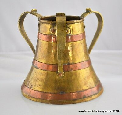 Antique Arts & Craft Brass Copper Tyg Three Handled Vessel 52 oz Hand Wrought