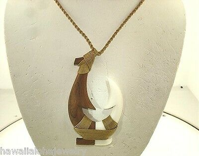 45mm XL Composite Carved Koa Wood Water Buffalo Bone Hawaiian Fish Hook Necklace