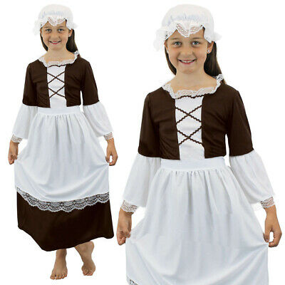 Poor Tudor Girls Costume Maid School Kids Historical Tudor Victorian Fancy Dress