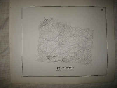Lrg Antique 1910 Greene County Ohio Highway Road Map Xenia Jamestown Cedarville