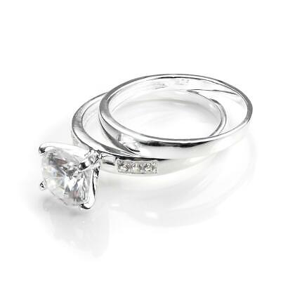 925 Sterling Silver & CZ Crystal Engagement Wedding Ring & Band Set - Size J-U