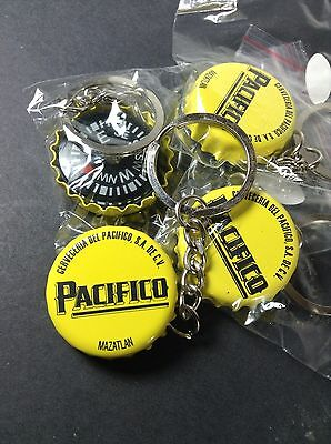 4 Pacifico Cerveza Beer Bottle Cap Compass Keychains