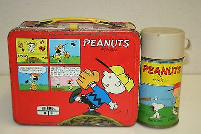 WOW Vintage Red 1976 Peanuts Charlie Brown Metal Lunchbox & Thermos C5-6 RARE