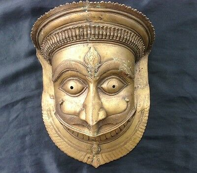 Huge Antique Bronze Asian Tibetan Thai Demon Bhutan Mask Tribal MetalTribe Deity