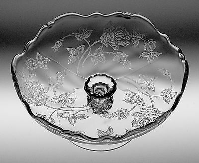 "Heisey ROSE Etching on WAVERLY 6"" Compote"